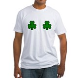 Shamrock boobs Fitted Light T-Shirts