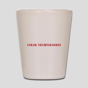 Color Technologist Red Stencil Design Shot Glass