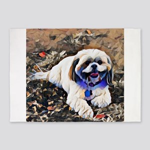 Shitzu puppy art 5'x7'Area Rug