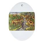 Timucua Indians Hunt Deer Oval Ornament