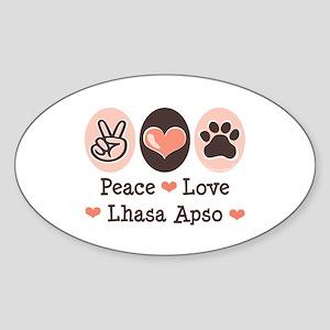 Peace Love Lhasa Apso Oval Sticker