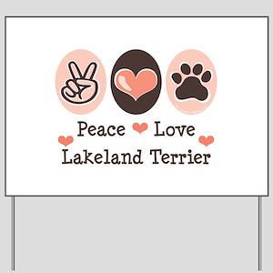 Peace Love Lakeland Terrier Yard Sign