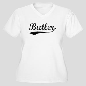 Vintage Butler (Black) Women's Plus Size V-Neck T-
