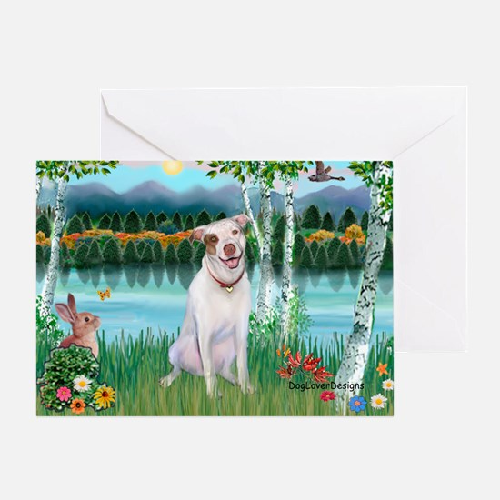 Birches / Pit Bull Terrier Greeting Card