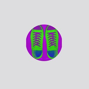 Purple Green Sneaker Shoes Mini Button