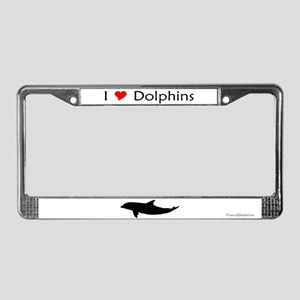 I Love Dolphins License Plate Frame