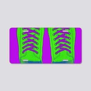 Purple Green Sneaker Shoes Aluminum License Plate
