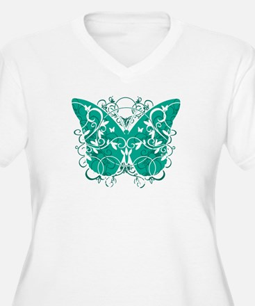 Ovarian-Cancer-Butterfly-blk Plus Size T-Shirt