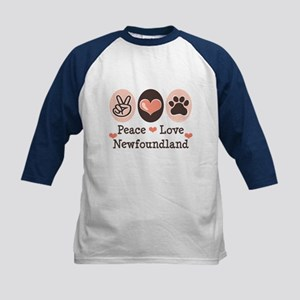 Peace Love Newfoundland Kids Baseball Jersey