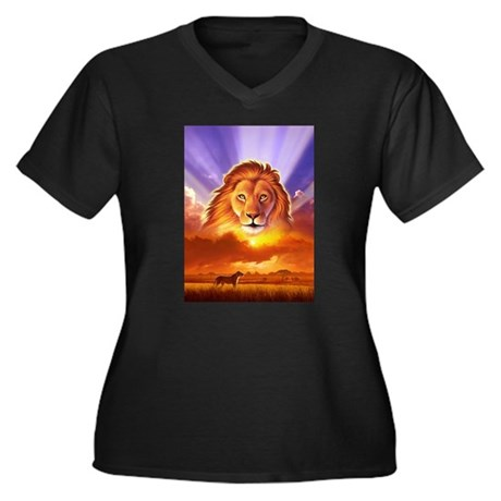 Lion King Women's Plus Size V-Neck Dark T-Shirt