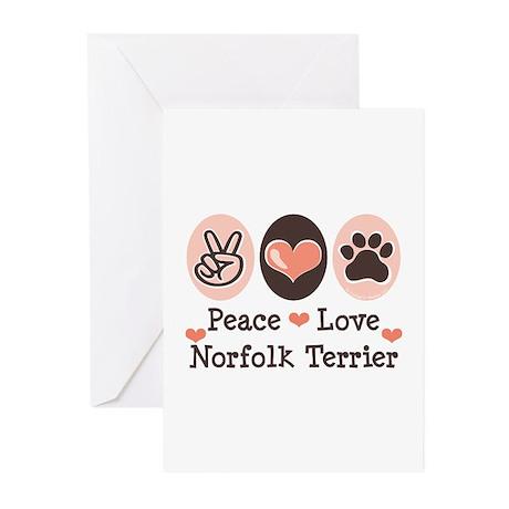 Peace Love Norfolk Terrier Greeting Cards (Pk of 2