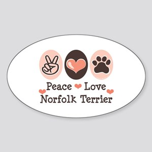 Peace Love Norfolk Terrier Oval Sticker