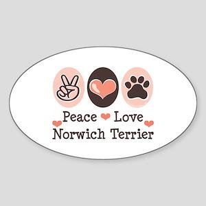 Peace Love Norwich Terrier Oval Sticker
