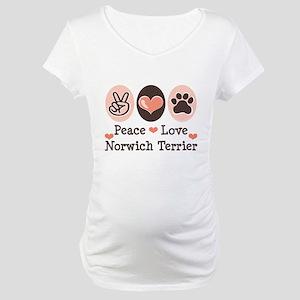 Peace Love Norwich Terrier Maternity T-Shirt