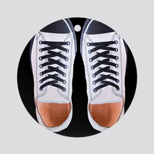 Black and White Sneaker Shoes Round Ornament