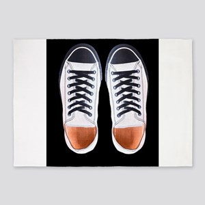 Black and White Sneaker Shoes 5'x7'Area Rug