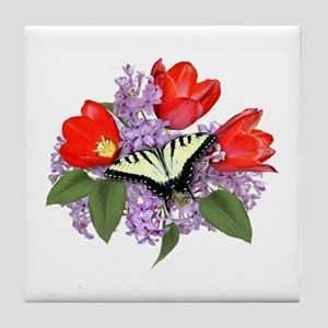 Yellow Swallowtail Butterfly Tile Coaster