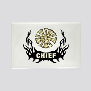 Fire Chief Tattoo Flames Rectangle Magnet