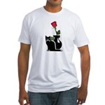 Black Cat and Rose Fitted T-Shirt