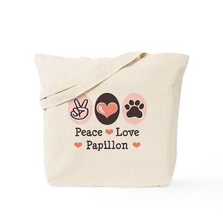 Peace Love Papillon Tote Bag