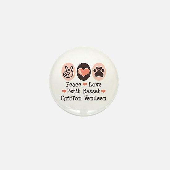 Peace Love PBGV Mini Button