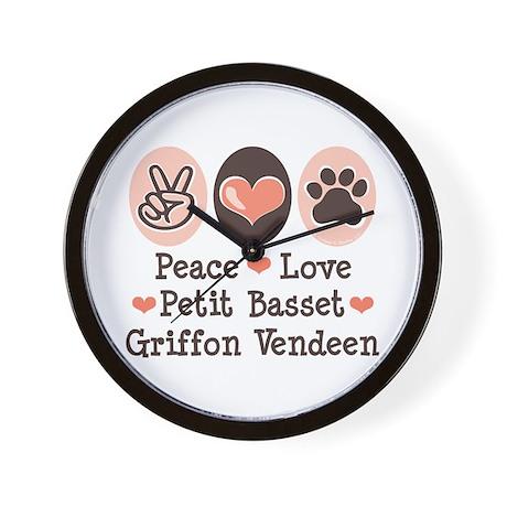 Peace Love PBGV Wall Clock