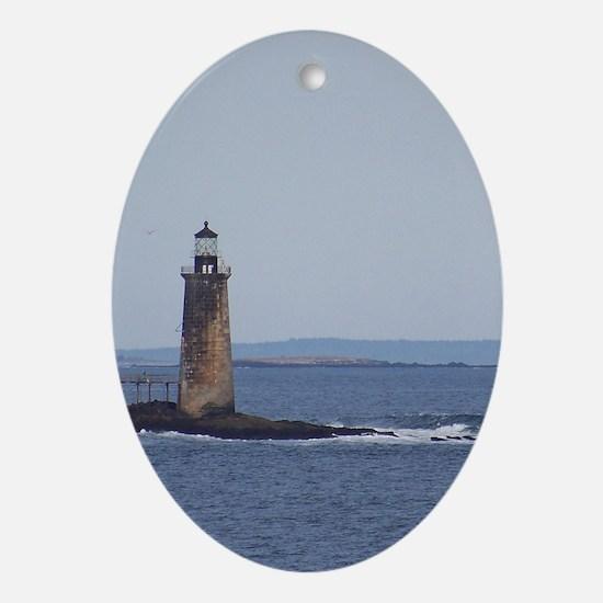 Scenic Ram Island Lighthouse Oval Ornament