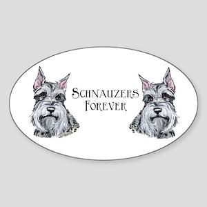 Schnauzers Forever! Dog Art! Oval Sticker