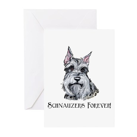 Schnauzers Forever! Dog Art! Greeting Cards (Pk of