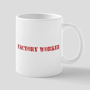 Factory Worker Red Stencil Design Mugs