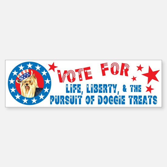 Vote for Yorkie Bumper Bumper Bumper Sticker