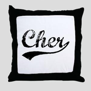 Vintage Cher (Black) Throw Pillow
