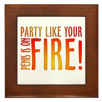 Party Like Your Penis is on Fire Framed Tile
