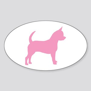 Pink Chihuahua Dog Oval Sticker