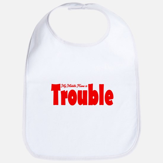 My Middle Name is Trouble Red Bib