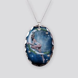 Female Elf Moon Necklace Oval Charm