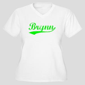 Vintage Brynn (Green) Women's Plus Size V-Neck T-S