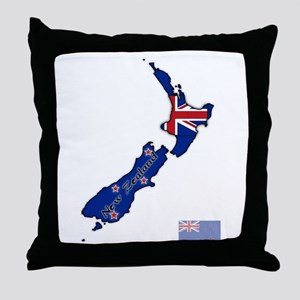 New Zealand Text And Flag In Map Throw Pillow