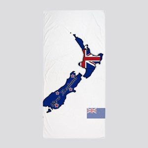 New Zealand Text And Flag In Map Beach Towel