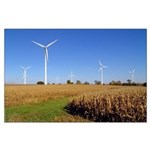 Turbines in Corn Field Poster
