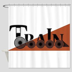Train Logo On White And Orange Shower Curtain