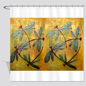 Turquoise Blue Dragonflies on Yello Shower Curtain