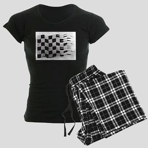 Wavy Checkered Flag Grunged Pajamas