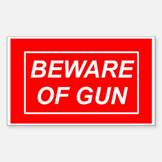 Beware of Gun - Rectangle Decal