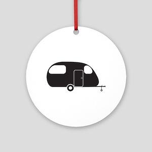 Small Caravan Silhouette Round Ornament