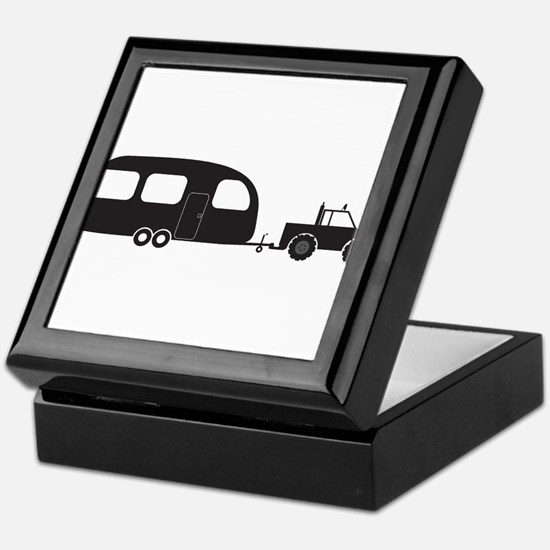 Caravan And 4x4 Silhouette Keepsake Box