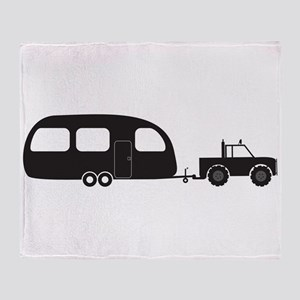 Caravan And 4x4 Silhouette Throw Blanket