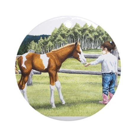 Girl with foal Ornament (Round)