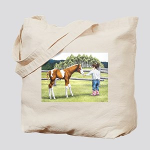 Girl with foal Tote Bag