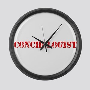 Conchologist Red Stencil Design Large Wall Clock